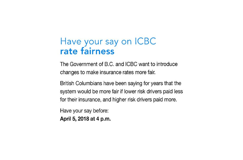 BC Government is looking for customer feedback about rate fairness at ICBC, have your say!